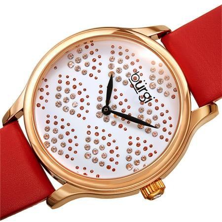 Burgi  Women's Swarovski Crystal Scallop Pattern Leather Strap Watch - Black/Gold