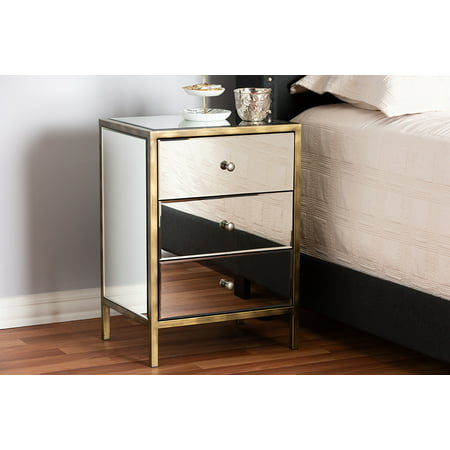 Baxton Studio Nouria Modern and Contemporary Hollywood Regency Glamour Style Mirrored 3-Drawer Nightstand Bedside Table
