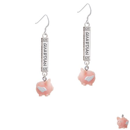 Resin Flying Pink Pig   Guardian Angel Bar French Earring