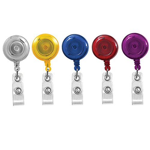 Translucent Retractable ID Badge Reels with Belt Clip Assortment 5 Pack by Specialist ID by