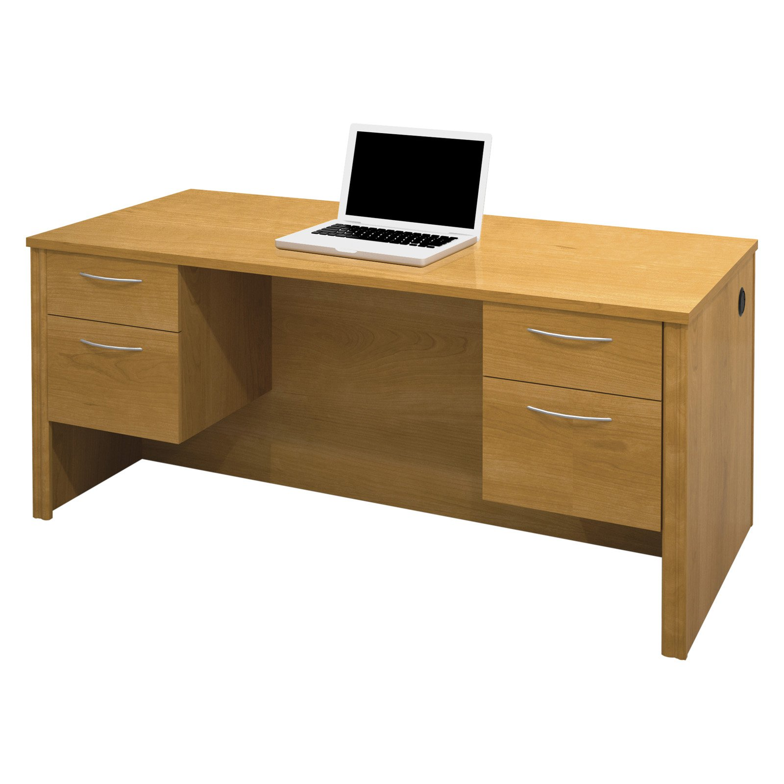 Bestar Embassy Executive Desk with Dual Half Peds, Cappuccino Cherry