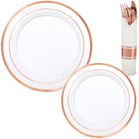 White Rose Gold-Trimmed Premium Tableware Kit for 40 Guests, with Cutlery Sets