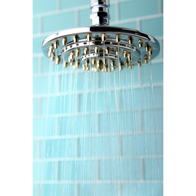 Kingston Brass Rainfall Chrome/Polished Brass 6-inch Shower Head