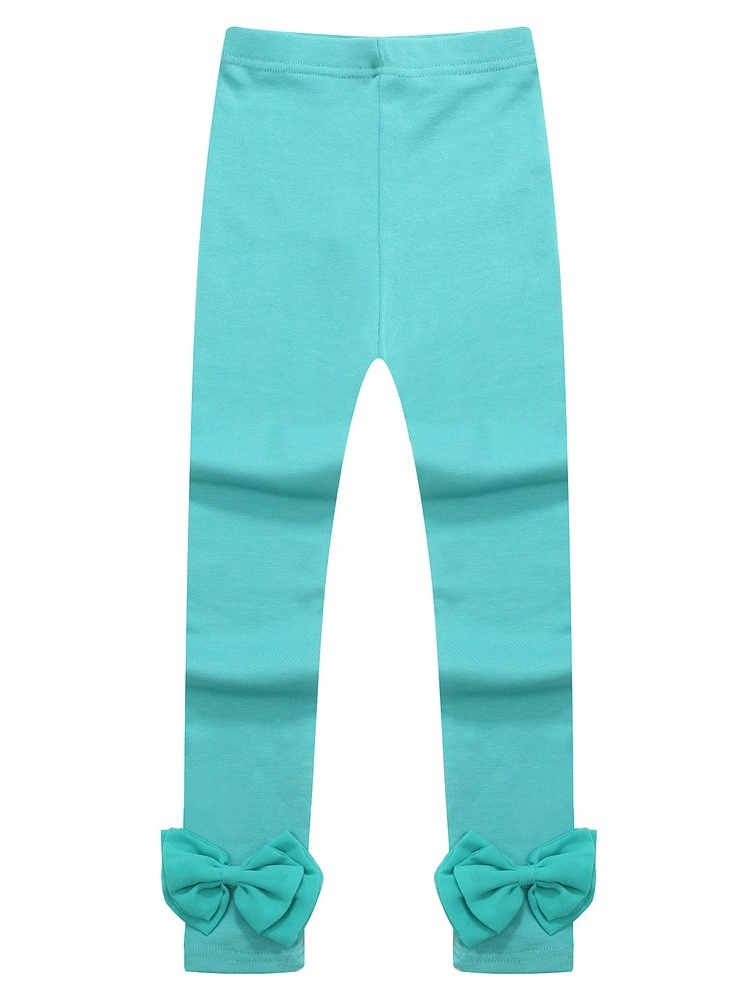 Richie House Little Girls Blue Cotton Bow Anchored Leggings 2-6