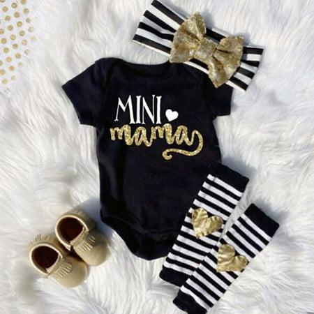 Newborn Infant Baby Girls Outfits Clothes Romper Jumpsuit Bodysuit+Headband+Leg warmers Gift Set ()