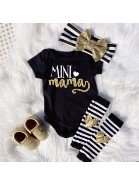 Newborn Infant Baby Girls Outfits Clothes Romper Jumpsuit Bodysuit+Headband+Leg warmers Gift Set