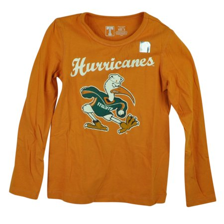 Halloween Store Miami (NCAA Miami Hurricanes Long Sleeves Youth Orange Tee Shirt Canes Cotton)