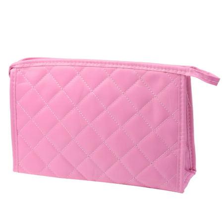 Unique Bargains Travel Rhombus Prints Mirror Cosmetic Makeup Bag Stitching Bag Pink for Women