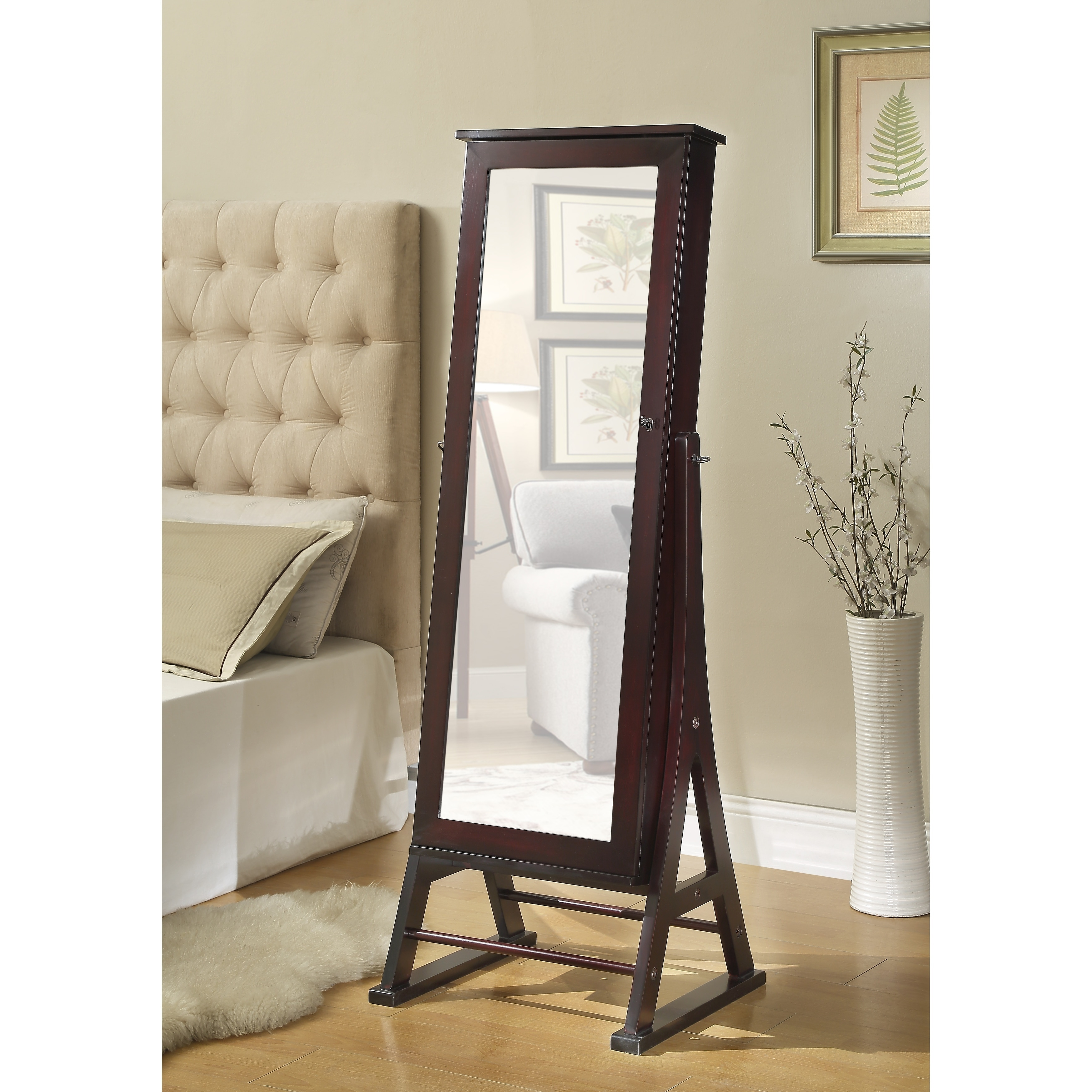 Hives honey espresso eiffel cheval mirror jewelry cabinet