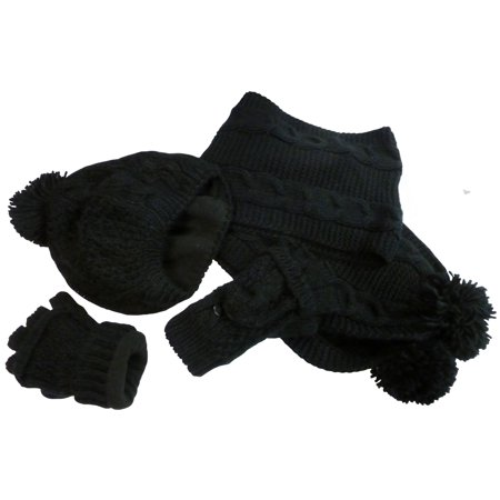 NICE CAPS Womens Ladies Adults Bulky Cable Knit Hat/Scarf/Converter Glove 3 Piece Winter Snow Headwear Accessory Set - Mj Gloves