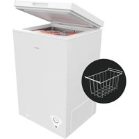 hOmeLabs 5 Cubic Feet Chest Freezer - Top Door Deep Freezer with Manual Defrost and Easy Access Defrost Drain - Home and Office Food Storage with Removable Shelf Basket and Adjustable Thermostat