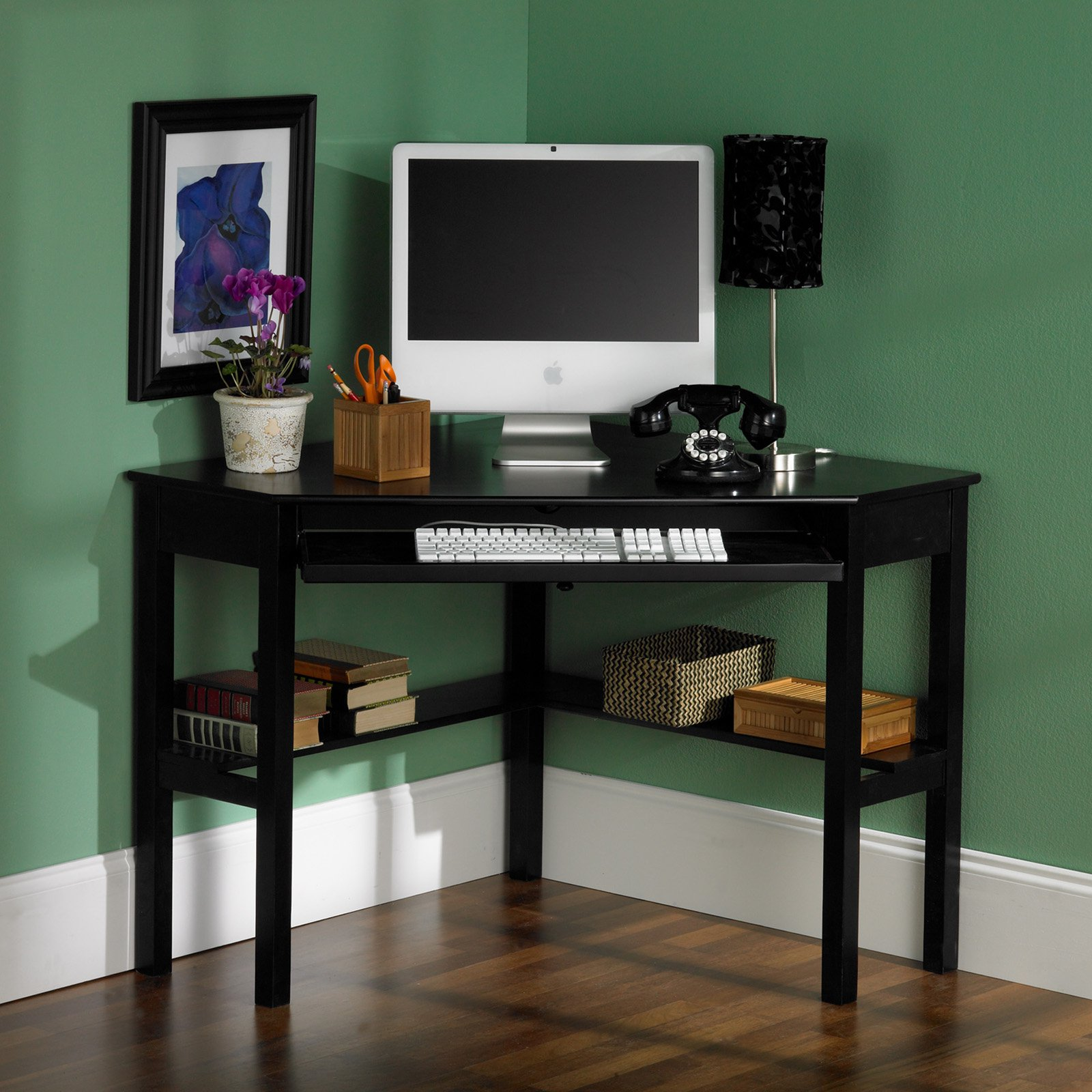 Southern Enterprises Black Corner Computer Desk