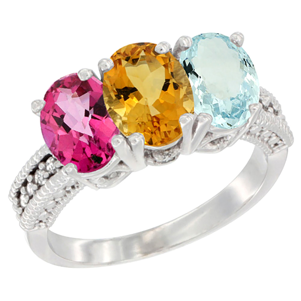 10K White Gold Natural Pink Topaz, Citrine & Aquamarine Ring 3-Stone Oval 7x5 mm Diamond Accent, sizes 5 10 by WorldJewels