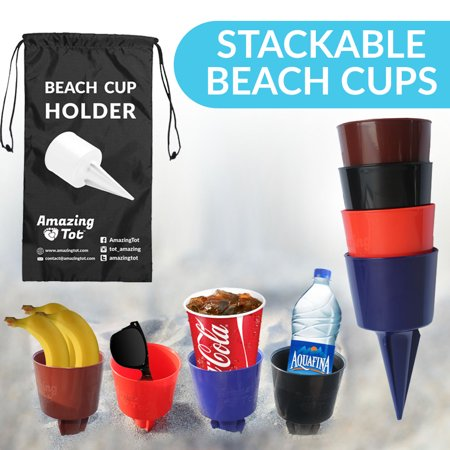 Beach Sand Coaster Cup Holder - Perfectly Sized Beach Beverage Holder for Drinks and Small Items - Available in Multiple Colors - Drink Cup Holder Made of Quality Plastic - Patent Pending - Cup Holder Coaster