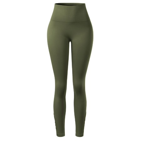 Made by Olivia Women's Lattice Hem Stretchy High Waist Tummy Control Seamless Leggings Army Green LX