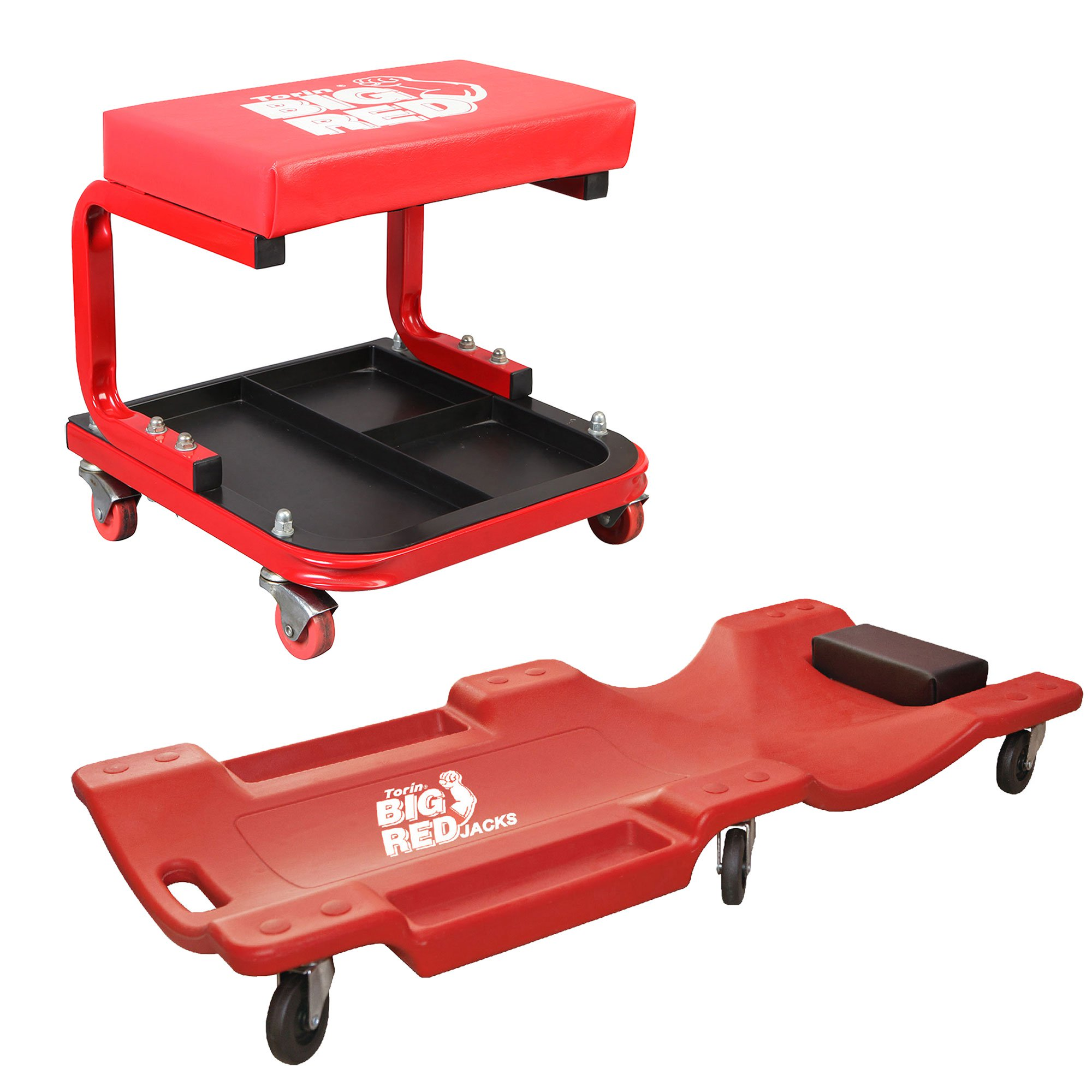 Torin Rolling Creeper Mechanic Padded Seat Stool with Tool Tray & Mechanic Cart