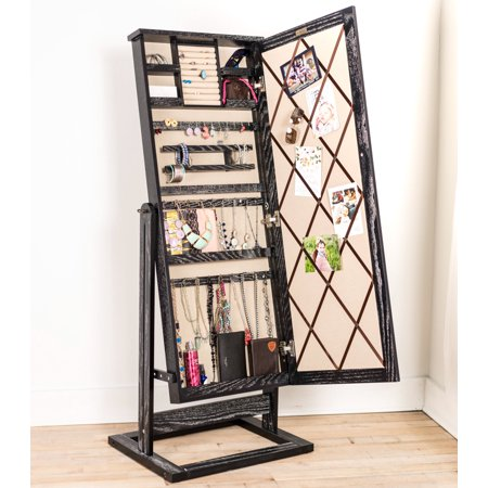 Hives & Honey Jewelry Armoire Standing Cheval Mirror - Ceruse -