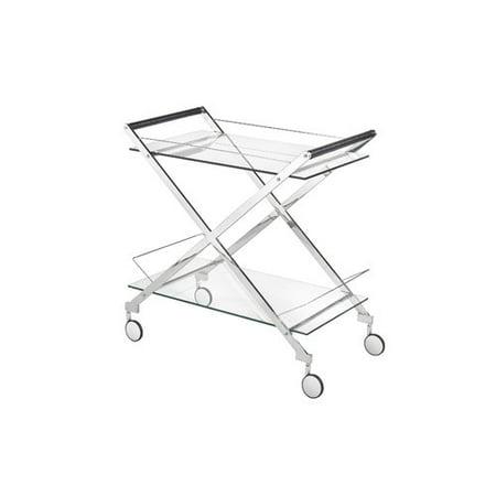 Everly Quinn Hurley Modern Design Steel Glass Bar Cart