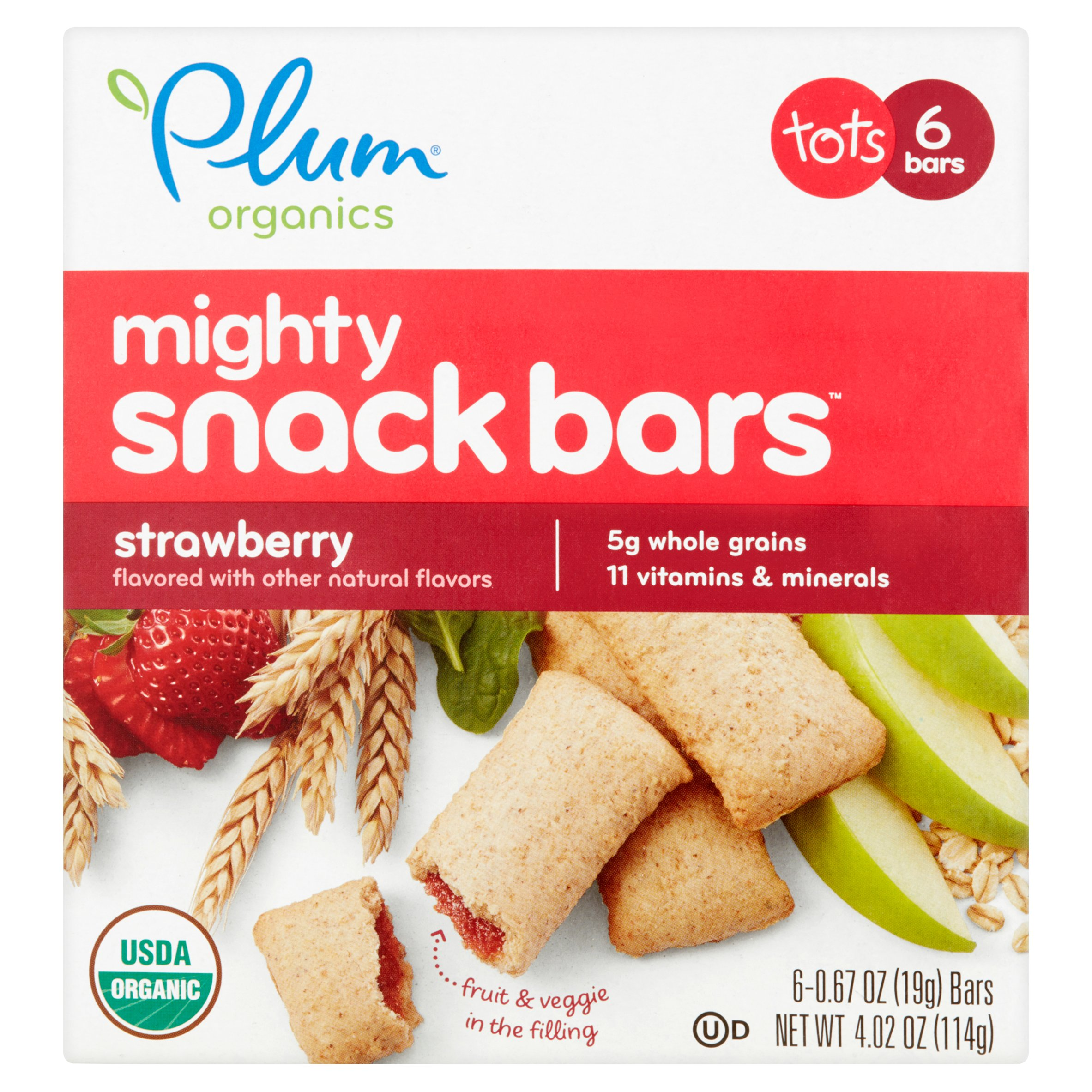 Plum Organics Mighty 4 Strawberry with Spinach Essential Nutrition Bar, 0.67 oz, 6 count (Pack of 8)