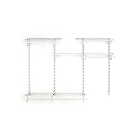 closetmaid 8808 shelftrack adjustable closet organizer kit, white, 4 to 6