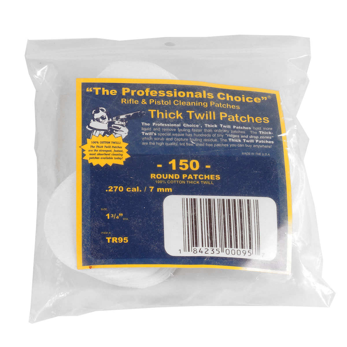 The Professionals Choice Twill Round Cleaning Patches .270 Cal. / 7mm 150 pack