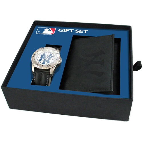 Game Time MLB Men's New York Yankees Watch and Tri-fold Wallet Set, Black