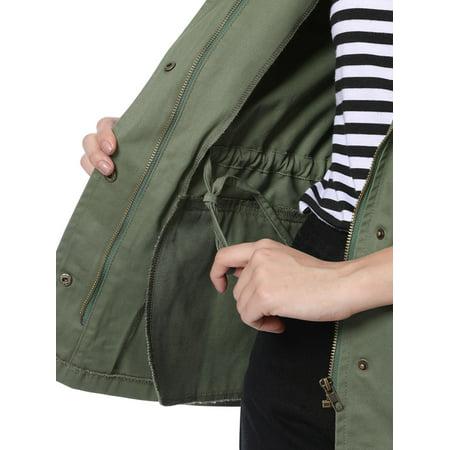 Unique Bargains Women Drawstring Waist Flap Pockets Military Jacket Green L - image 1 de 7