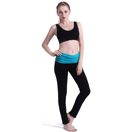 61bb2250045 HDE - HDE Women s Maternity Yoga Pants Stretch Pregnancy Leggings Fold Over  Waistband (Black with Teal