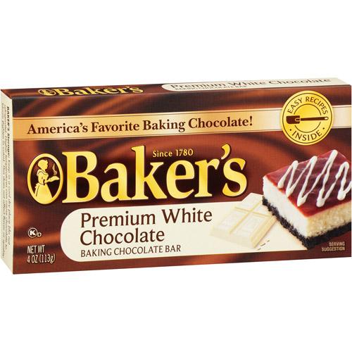 Kraft Baker's Premium White Chocolate Baking Chocolate Bar, 4 oz