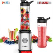 5 Core Mini Personal Portable Juicer Ice Fruit Shakes Smoothies 4 Blade Stainless Steel Blender + BPA FREE Double Serving 2 Travel Sports Bottles 600ml 20oz Blend To Go 300W Small