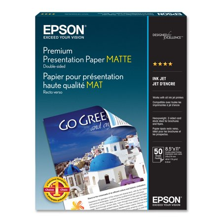 Premium Presentation Paper MATTE (8.5x11 Inches, Double-sided, 50 Sheets) (S041568) Epson