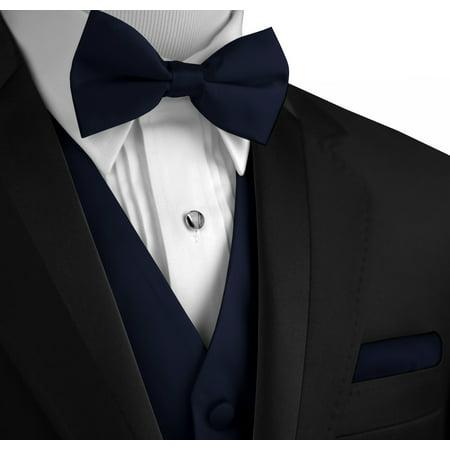 Italian Design, Men's Tuxedo Vest, Bow-Tie & Hankie Set in Navy Blue for $<!---->