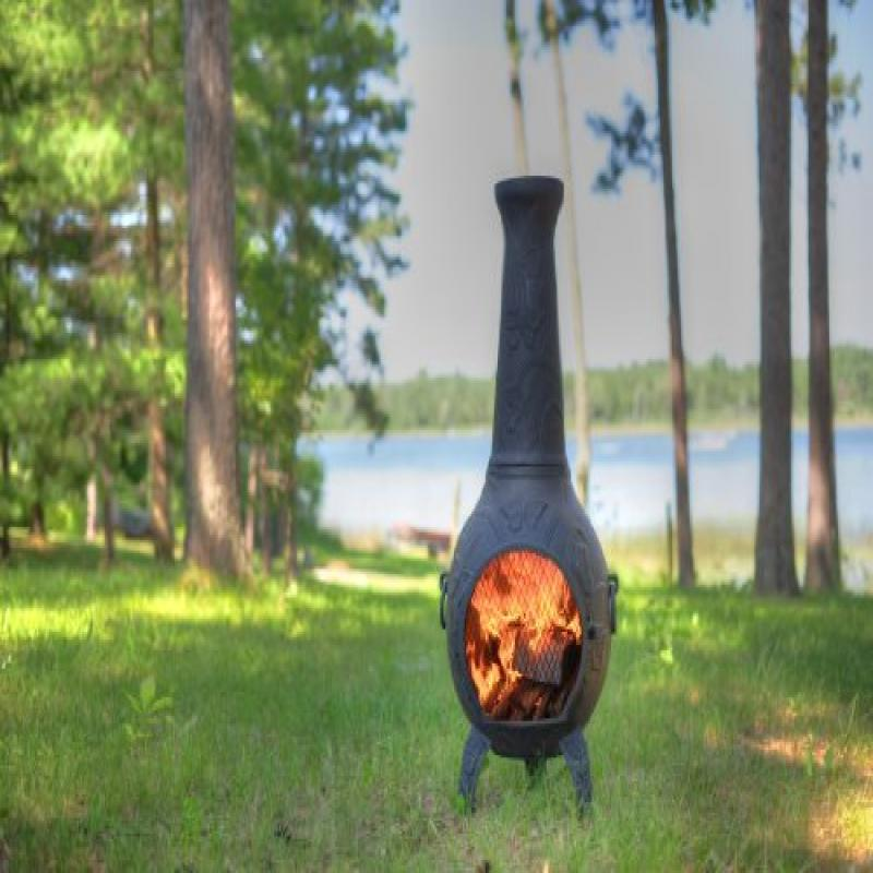 The Blue Rooster Co. Cast Aluminum Butterfly Chiminea with Gas and a 10' hose in Charcoal. Also comes with a... by