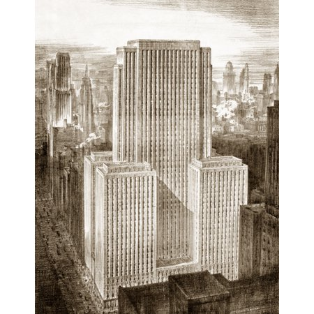 Chicago Field Building Nthe Field Building  Later Known As The Lasalle National Bank Building  On Lasalle Street In Chicago Illinois Drawing C1935 Rolled Canvas Art     24 X 36