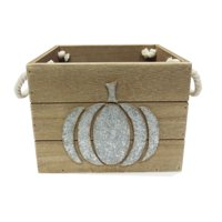 Way To Celebrate Harvest Wooden Pumpkin Box