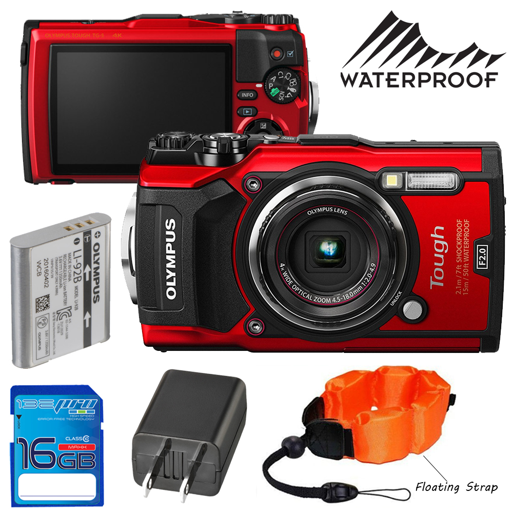 Olympus Digital Camera 5 Olympus Tough TG-5 Digital Camera (Red) + Pixi Accessories Starter Bundle -  Walmart.com