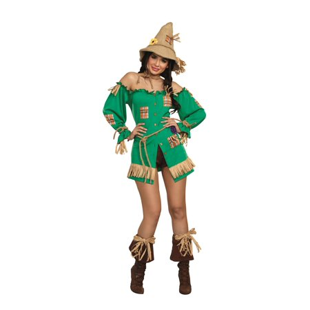 Dreamgirl Women's Storybook Scarecrow Costume Dress - Scarecrow Makeup Halloween