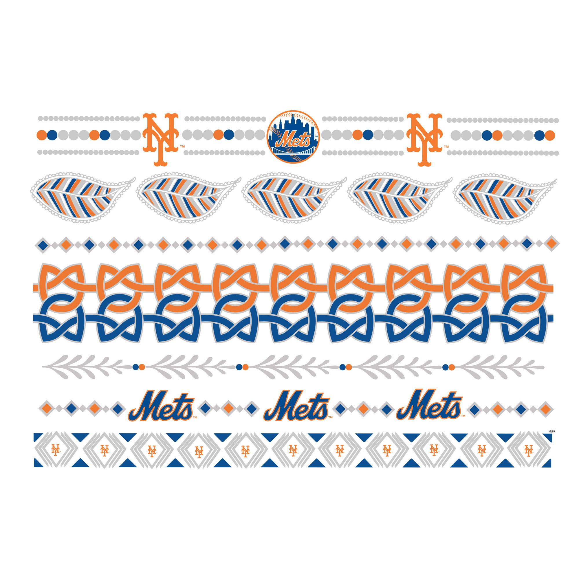 New York Mets Metallic Fashion Tattoos - No Size