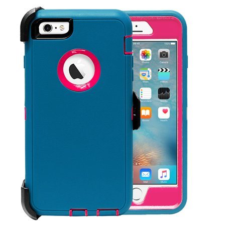Full Body Protection - iPhone 6 Plus Case, [Full body] [Heavy Duty Protection] Shock Reduction / Bumper Case with Screen Protector for Apple iPhone 6 Plus(Teal/Hot Pink)