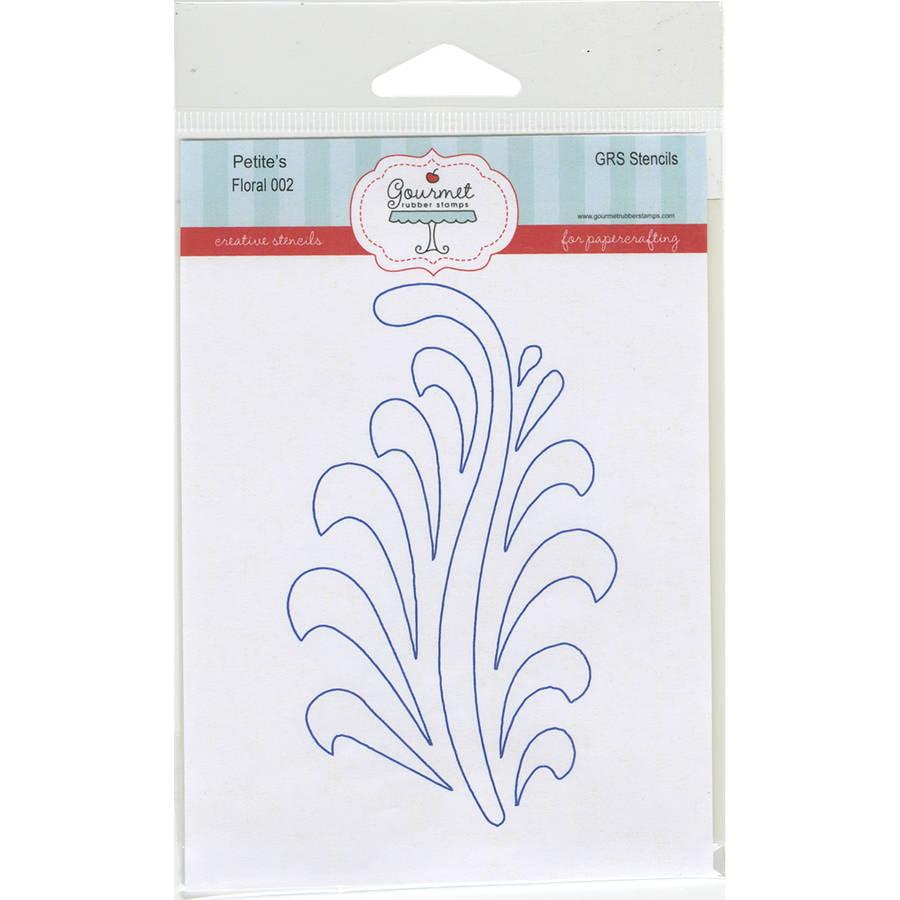 "Gourmet Rubber Stamps Petite Stencils, 4.25"" x 6.5"", Floral"
