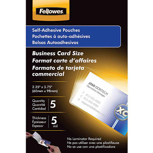 Fellowes Self-Adhesive Business Card Pouches