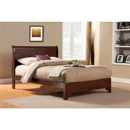 Full Size Low Footboard Sleigh Bed In Rubberwood, Brown