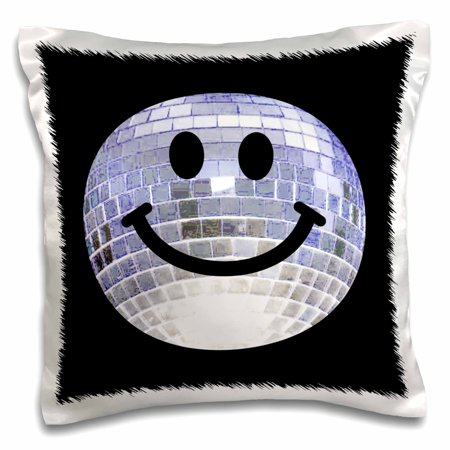 3dRose Silver Disco Ball Smiley Face - seventies 70s style Discoball Dance hall diva smilie on black - Pillow Case, 16 by 16-inch](70s Disco Dances)