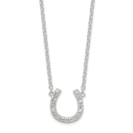 Horseshoe Italian Charm - 925 Sterling Silver Cubic Zirconia Cz Horseshoe 1 Inch Extension Chain Necklace Pendant Charm Good Luck/italian Horn For Women
