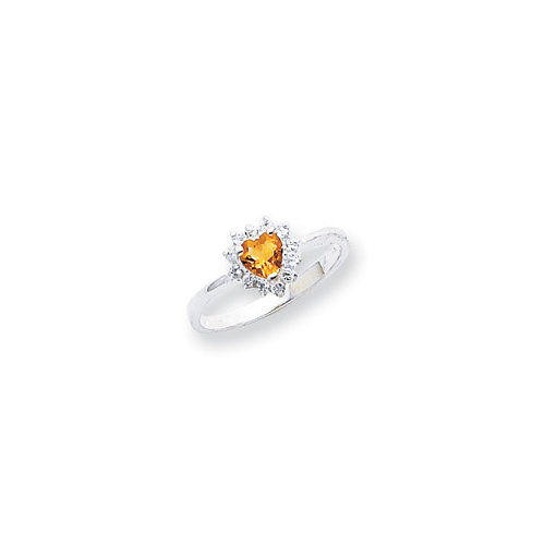 Jewelryweb Sterling Silver Heart Cut Citrine Halo Ring