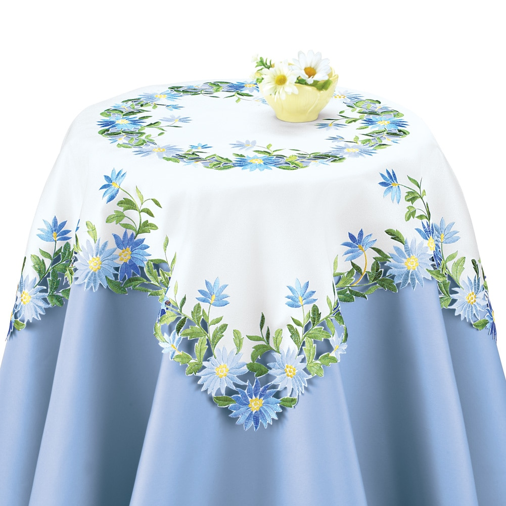 Embroidered Blue Daisies Table Linens, Square, White by Collections Etc