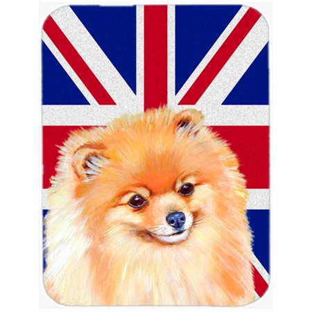 7.75 x 9.25 In. Pomeranian With English Union Jack British Flag Mouse Pad, Hot Pad Or Trivet - image 1 of 1