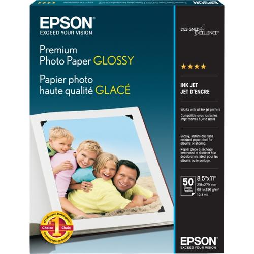 "Epson Premium High Gloss Photo Paper, Letter (8.50"" x 11"") - 50 Sheets"