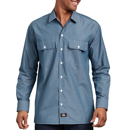 c7044c6858 Dickies - Dickies Men s Relaxed Fit Long Sleeve Chambray Shirt - Walmart.com