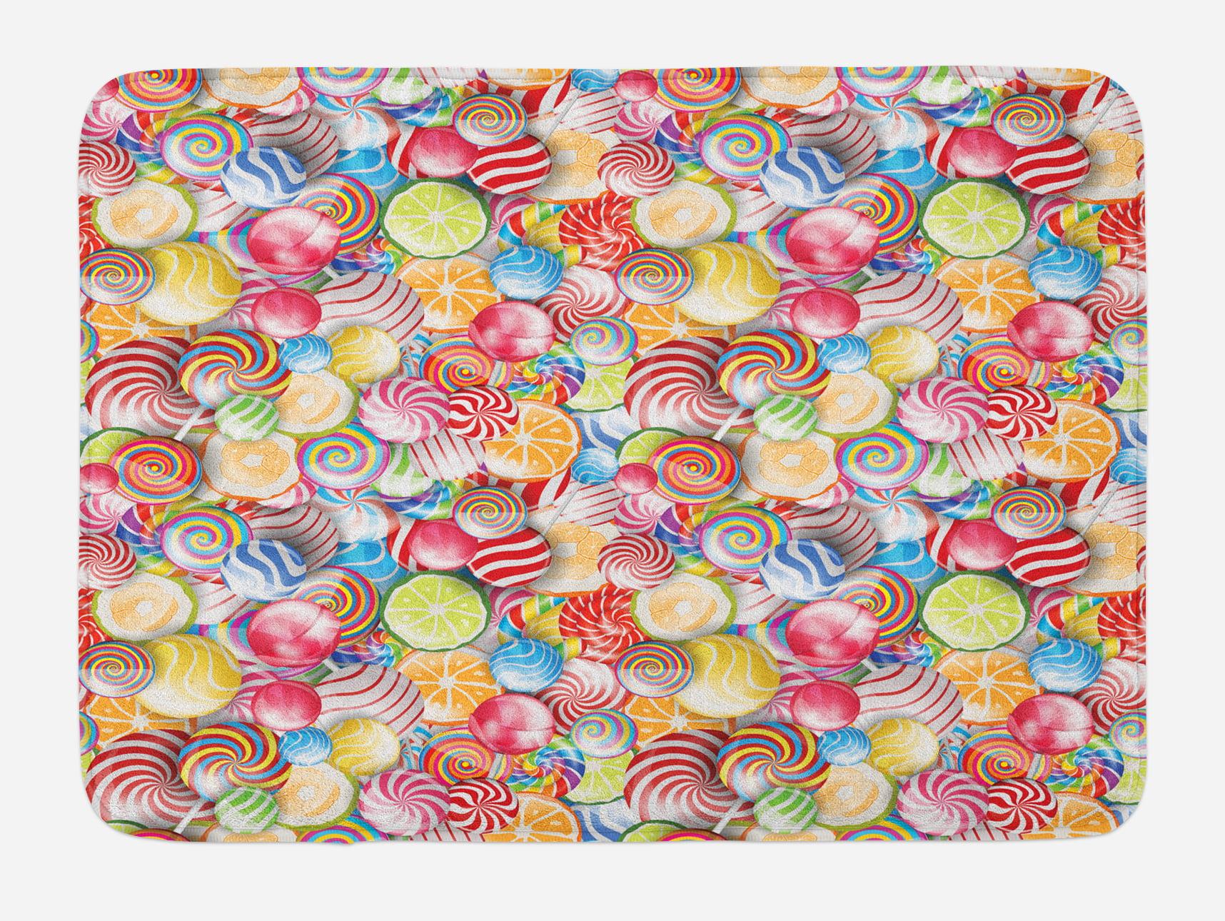 Colorful Bath Mat, Spiral Sugar Candy Sweets Lolly Pops Dessert Fun Girls Kids Nursery... by 3decor llc